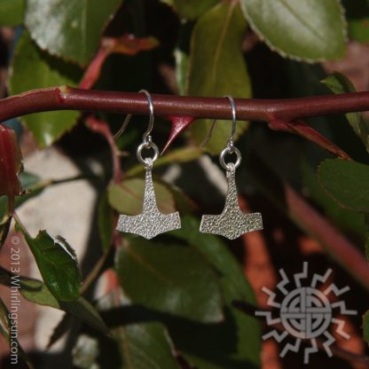 Sterling silver Thor's hammer earrings